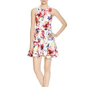 Aqua Floral Print Racerback Mini Dress